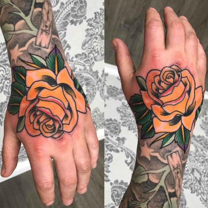 Yellow Rose Hand Tattoo