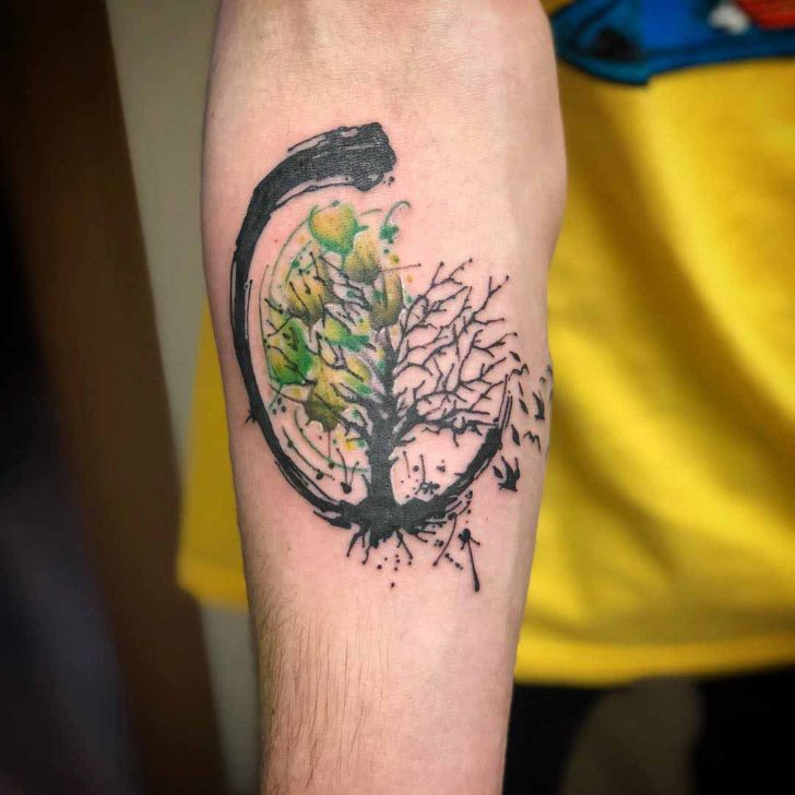 Zen Green Tree of Life Tattoo