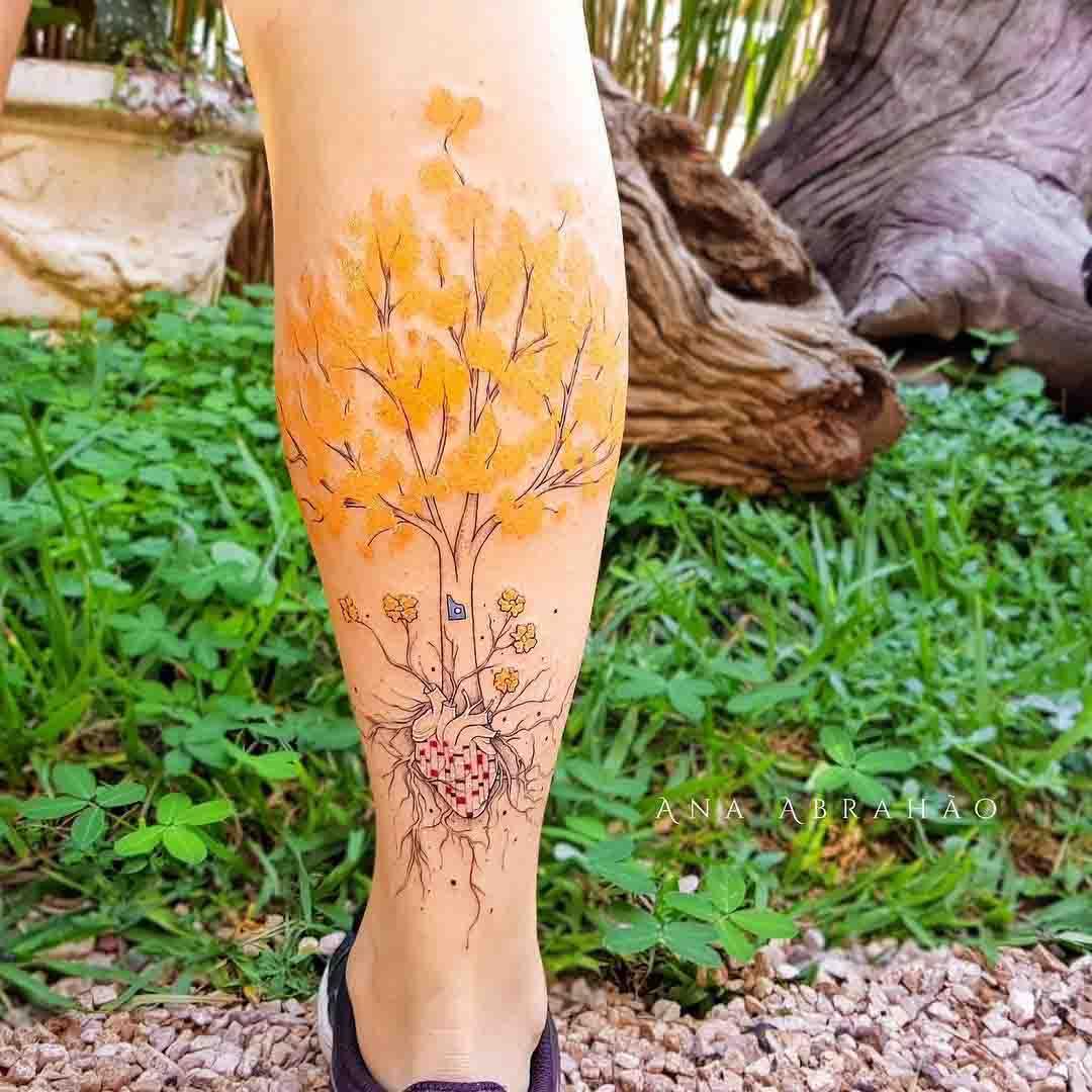 calf tattoo tree
