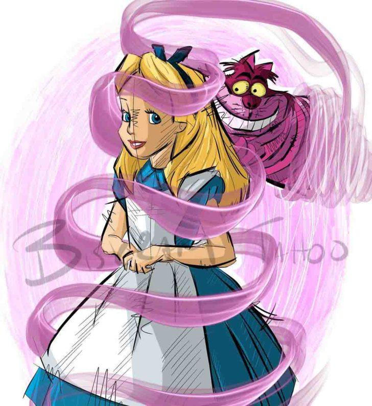 Alice and Cheshire Cat Tattoo Design