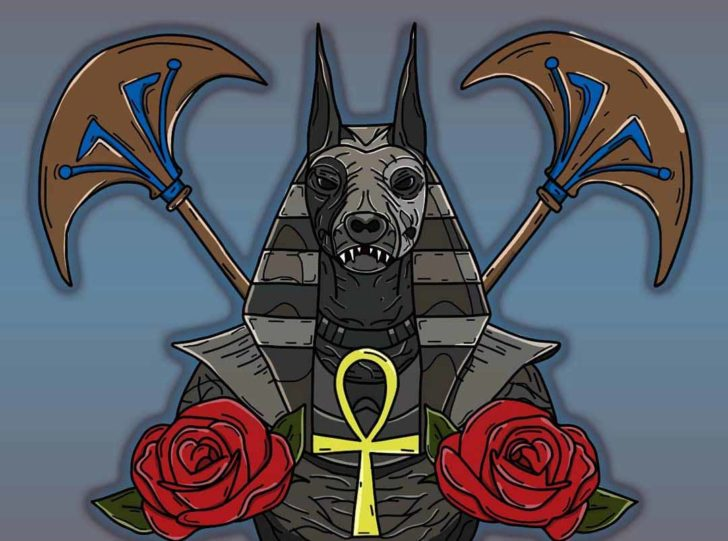 Anubis Tattoo Design with Roses