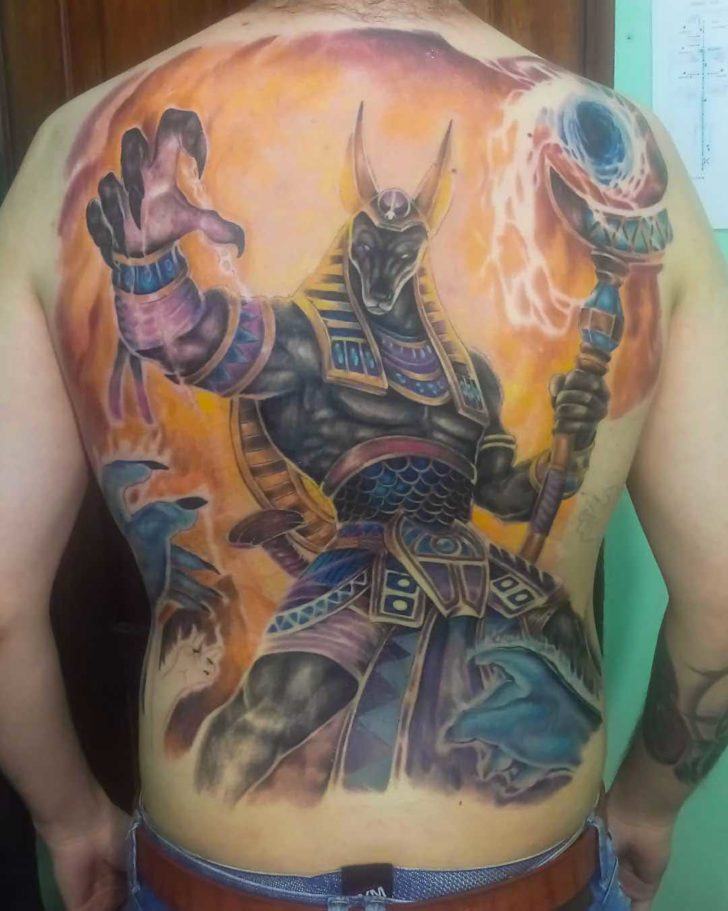 Anubis Tattoo on Full Back