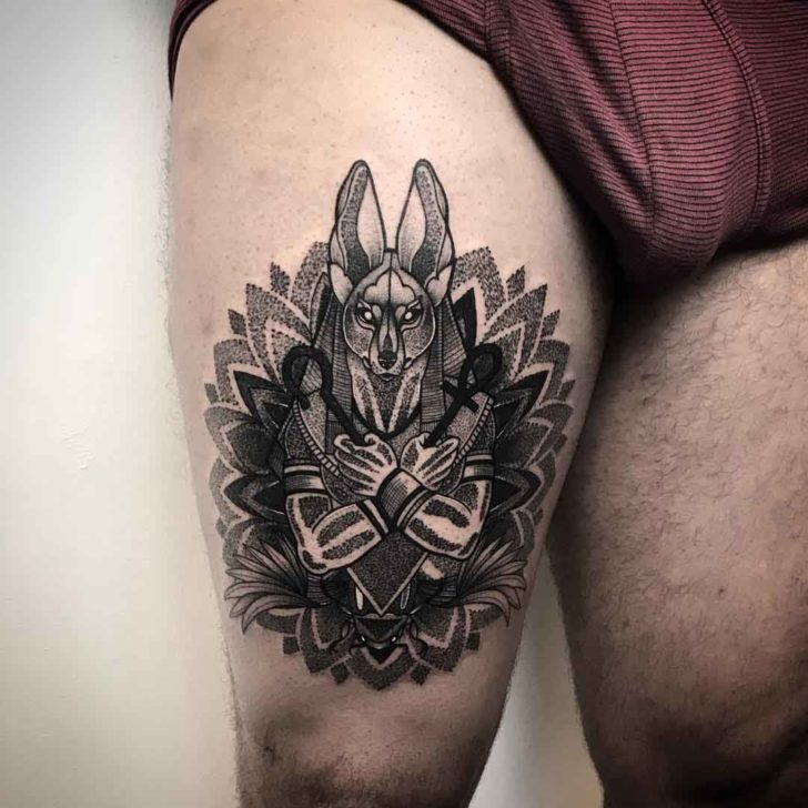 Anubis Tattoo on Thigh