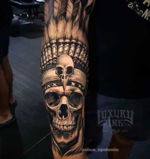 Arm Tattoo Indian Skull