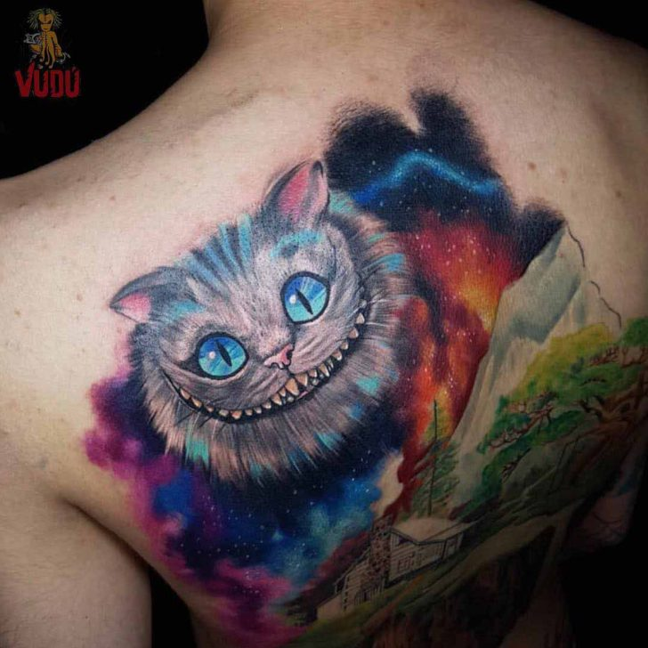 Back Cheshire Cat Tattoo