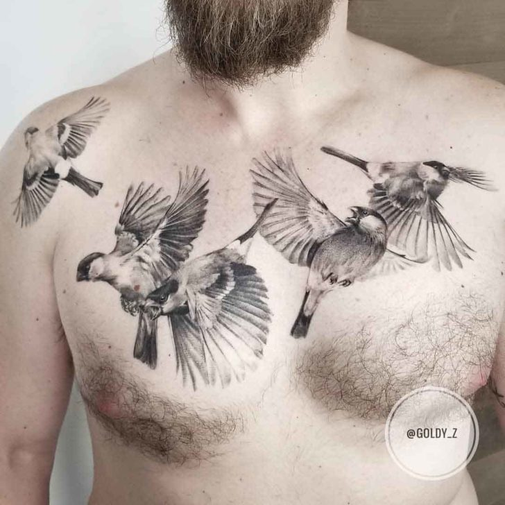 chest tattoo birds