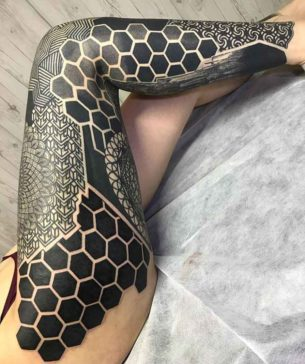 Blackwork Pattern Leg Sleeve Tattoo