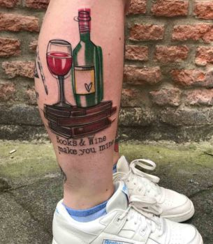 Books and Wine Tattoo