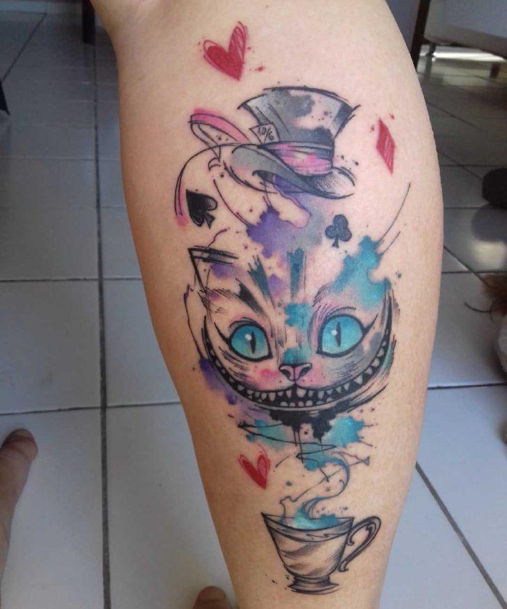 Cheshire Cat Tattoo on Calf