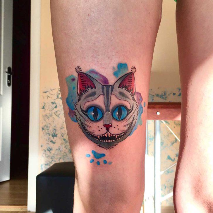 Cheshire Cat Tattoo on Knee
