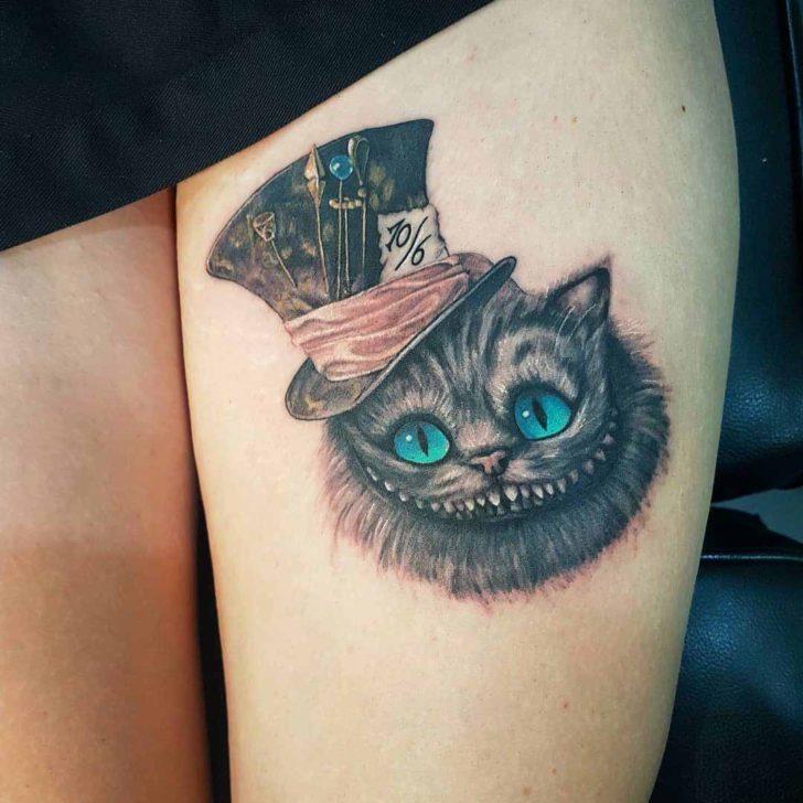Cheshire Cat Tattoo on Thigh