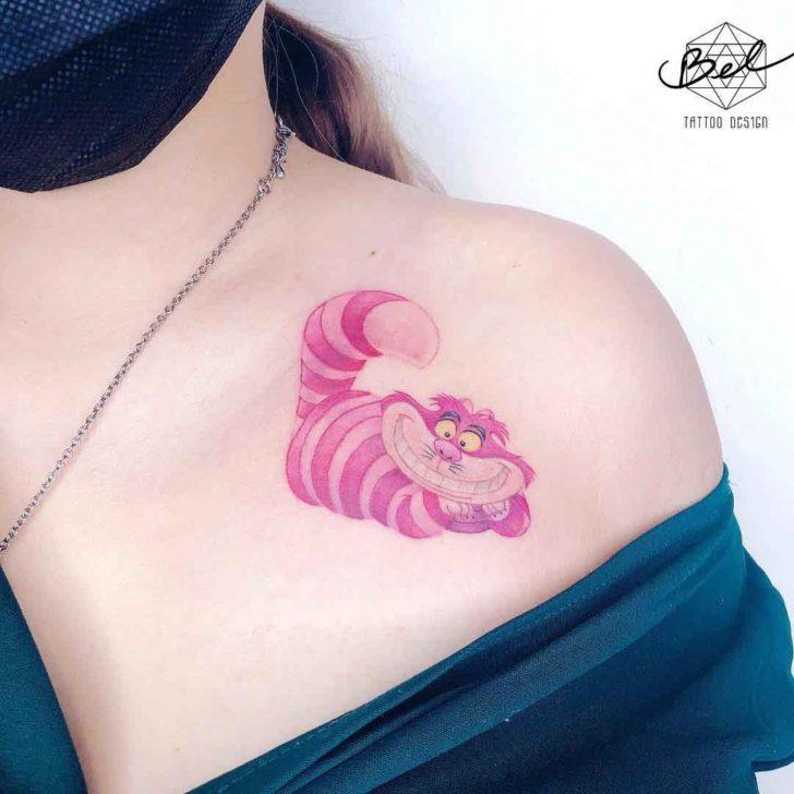 Collar Bone Chashire Cat Tattoo