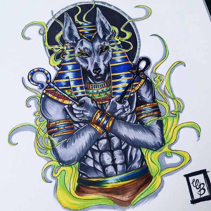 Colorful Anubis Tattoo Design