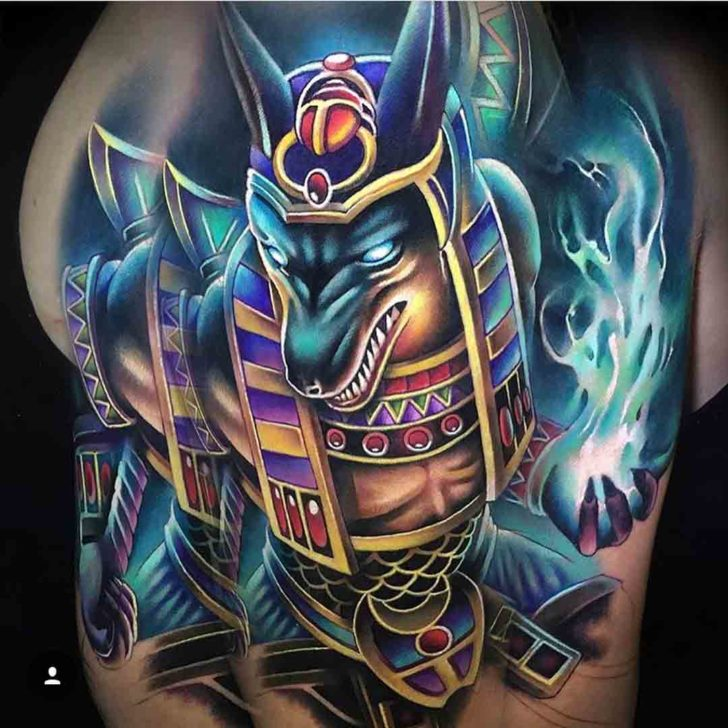 Colorful Anubis Tattoo
