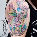 Colorful Dragon Tattoo on Shoulder