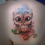 Cute Owl Tattoo on Shoulder Blade