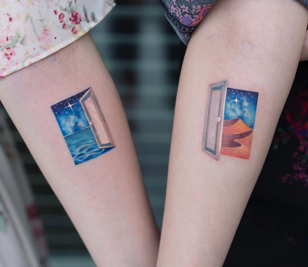 couple tattoos doors