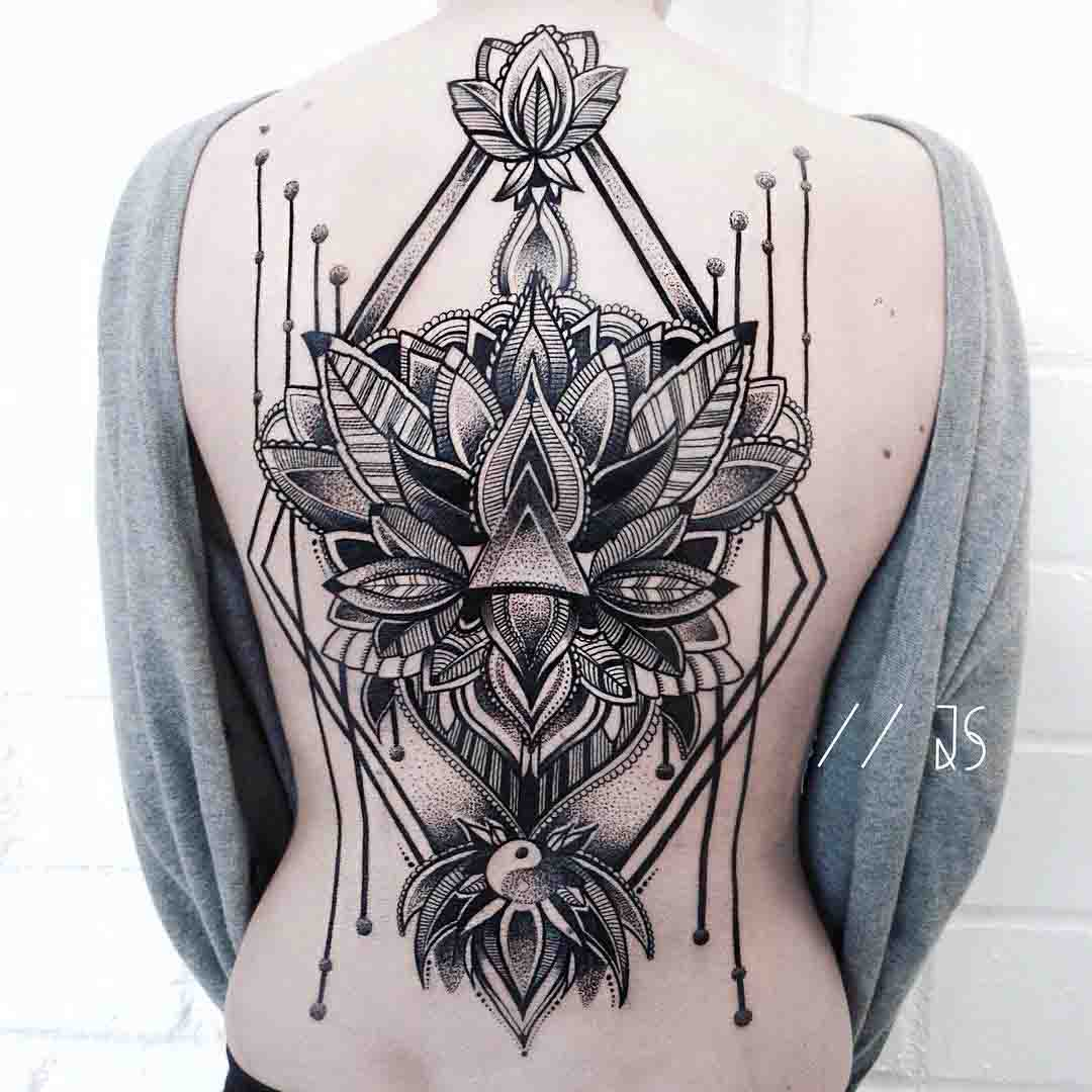 dotwork tattoo lily on back