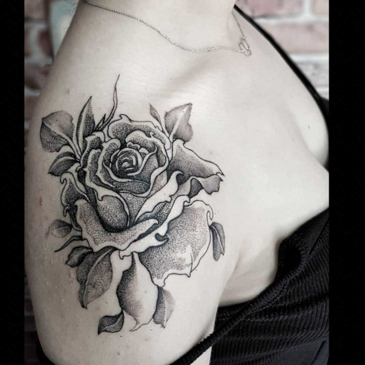Dotwork Rose Shoulder Tattoo