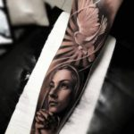 Dove Prayer Tattoo on Arm