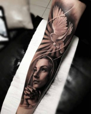 Dove Prayer Tattoo on Arm