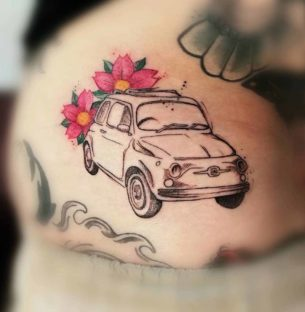 Fiat 500 Car Tattoo