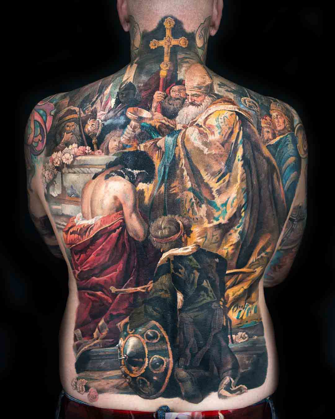 religious tattoo full back