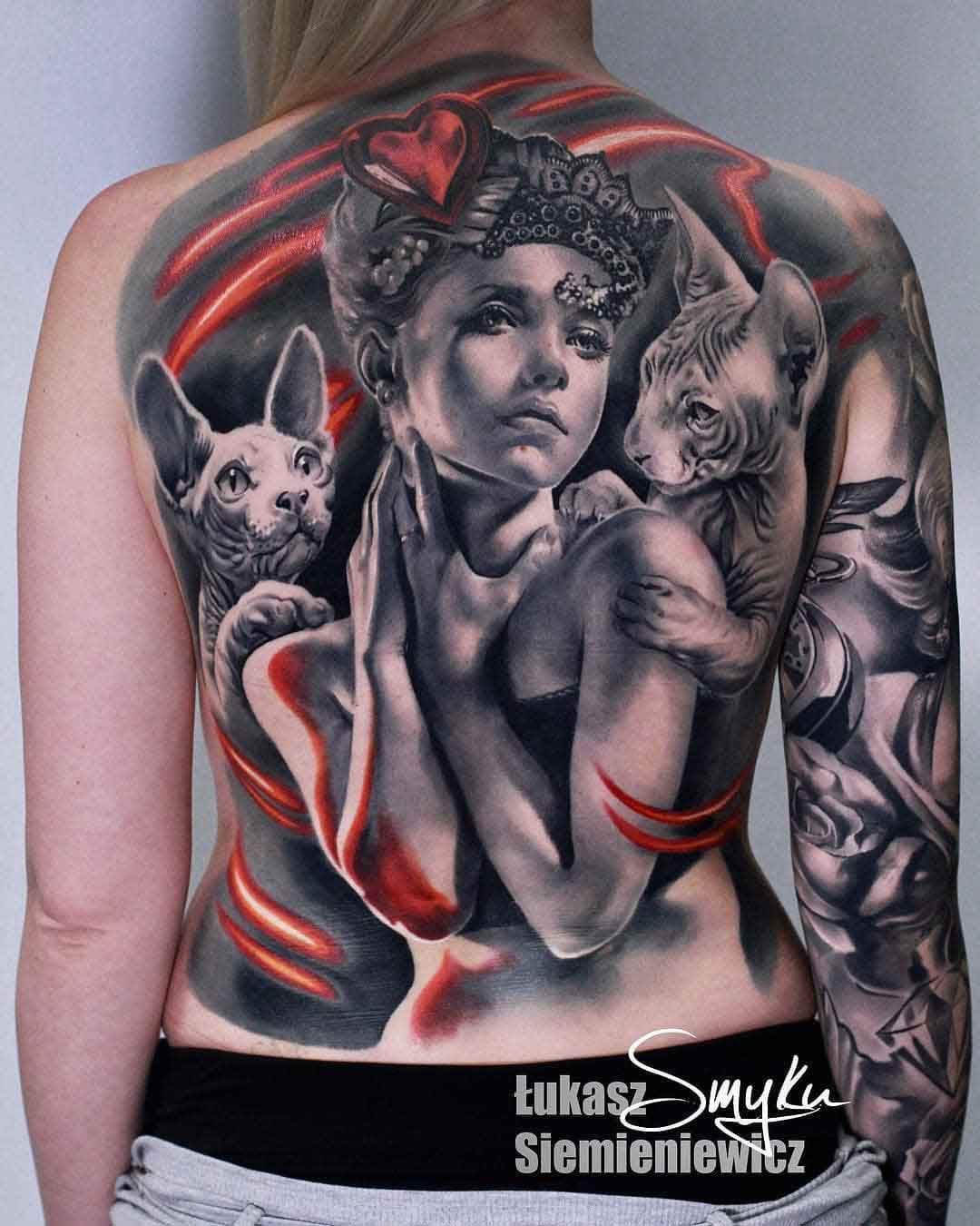 sphynx cat tattoo on back