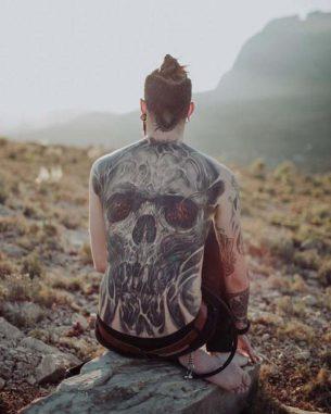 Fullback Tattoo of Skull