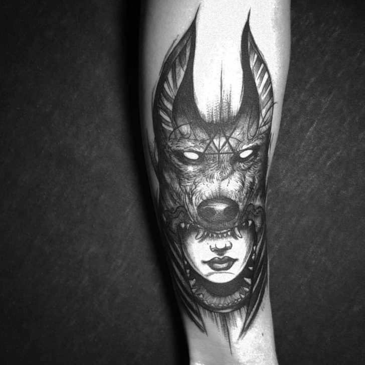Girl Anubis Tattoo