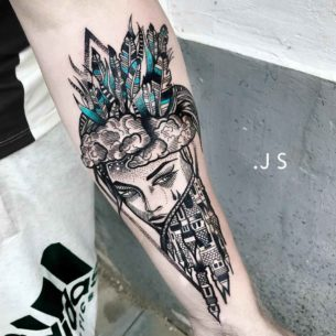 Girl Castle Tattoo on Arm