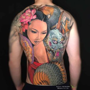 Girl and Dragon Tattoo on Back