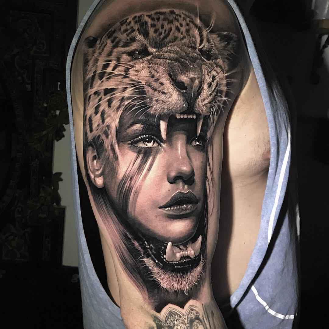 shoulder tattoo jaguar hide girl