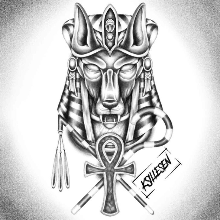 Grey Anubis Tattoo