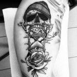 Hourglass Skull Tattoo