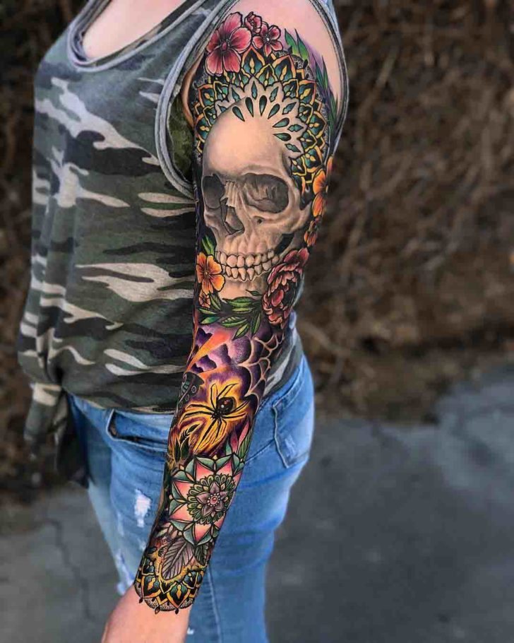 tattoo sleeve skull and spider