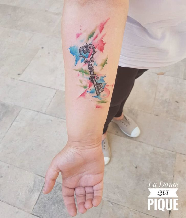 watercolor key tattoo