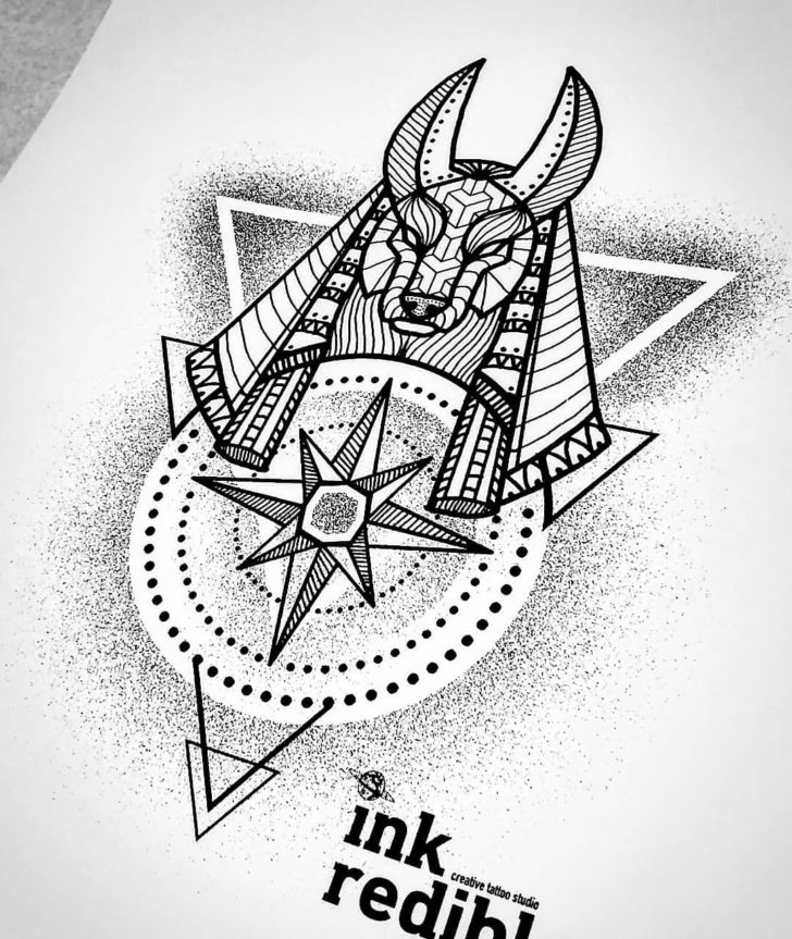 Lines and Dots Anubis Tattoo Design