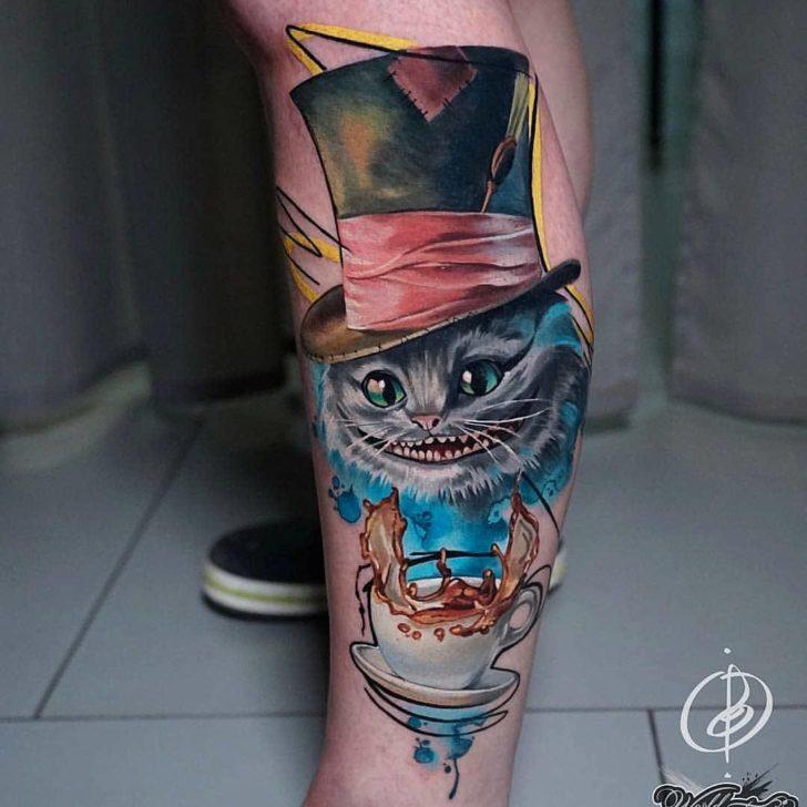 Mad Hatter Cheshire Cat Tattoo