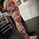 Music Sleeve Tattoo on Leg