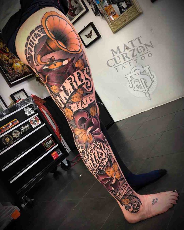 leg tattoo sleeve music