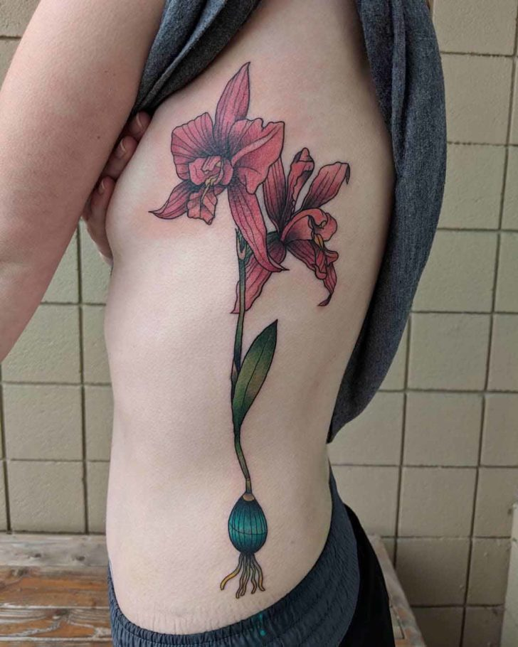ribs tattoo orchid