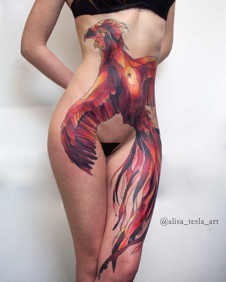 girl tattoo phoenix