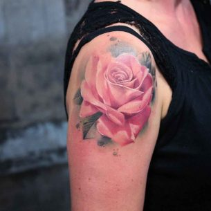 Pink Rose Tattoo on Shoulder