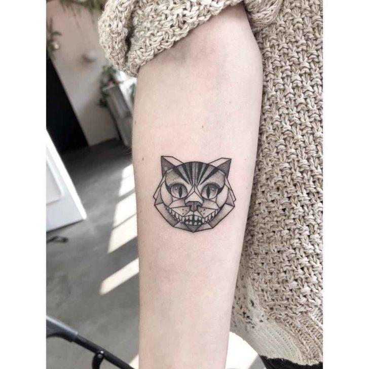 Polygonal Cheshire Cat Tattoo