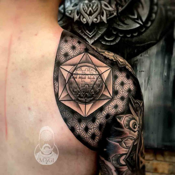 geometry tattoo sleeve puzzle