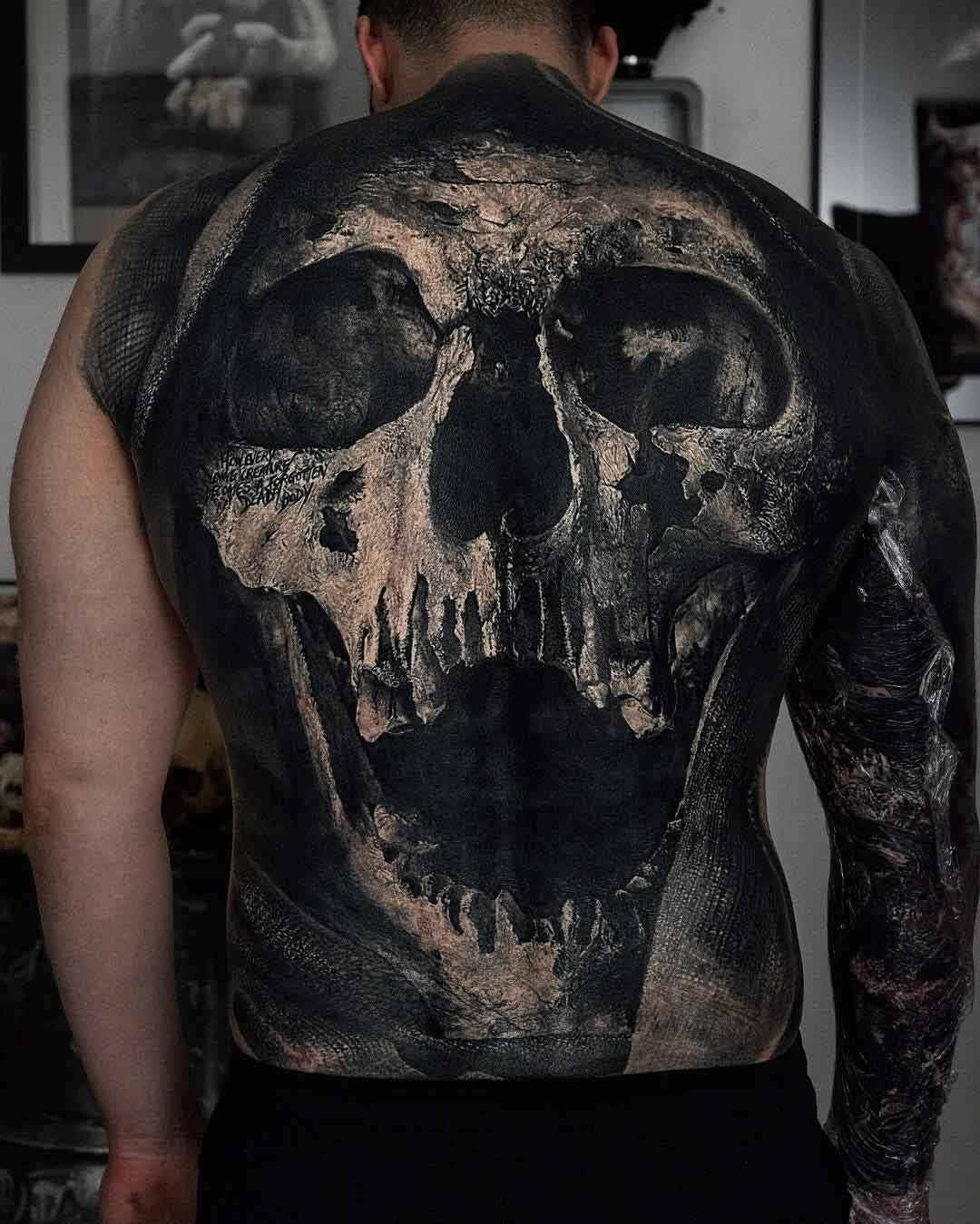 full back tattoo skull