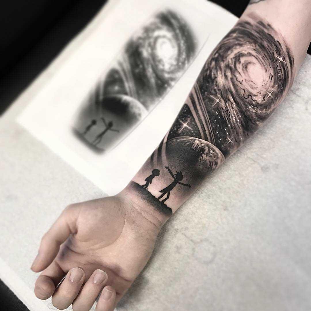 forearm galaxy tattoo rick and morty