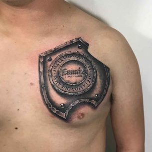 Shield Tattoo on Chest