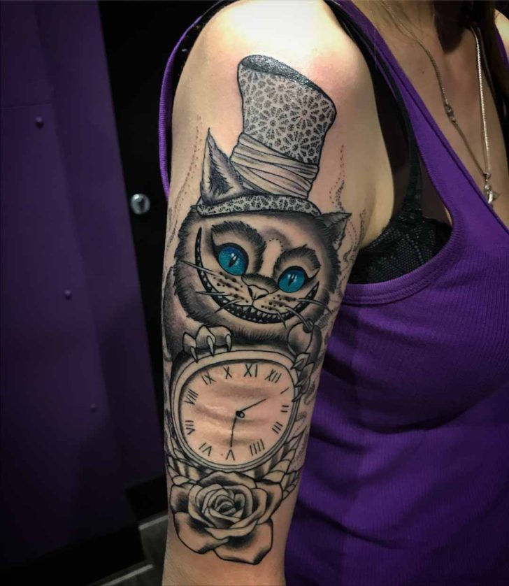 Shoulder Sleeve Cheshire Cat Tattoo